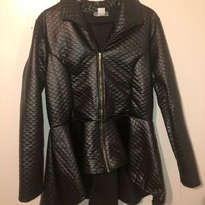Jackets & Blazers - Black Quilted Peplum Jacket NWOT